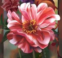 Розовый пион размер 196х210 см (12 листов)